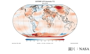 June 2018 ties for third-warmest June on record (NASA - 20180717)