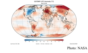 April 2018 was third warmest April on record (NASA - 20180516)